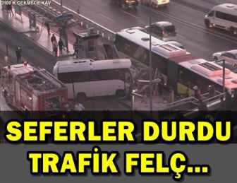 SON DAKİKA: METROBÜS DURAĞINDA KAZA!..